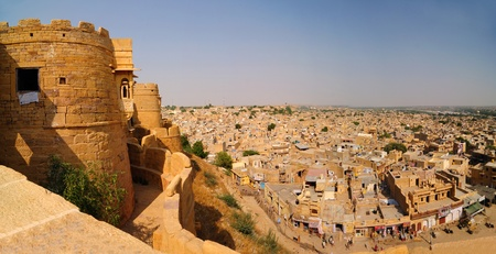 Panoramic view of Golden fort and Jaisalmer city as viewed from the the top of the fort. photo