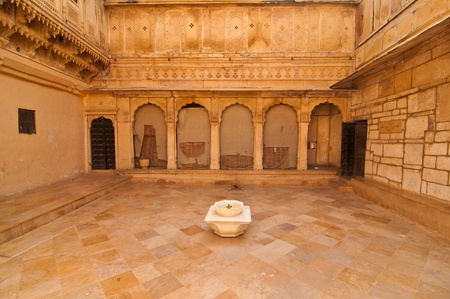 The royal courtyard of the Jaisalmer Palace at the Golden Fort. Various cultural activities used to take place in this courtyard.