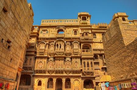 The beautiful Patwon ki Haveli palace made of golden limestone in Jaisalmer