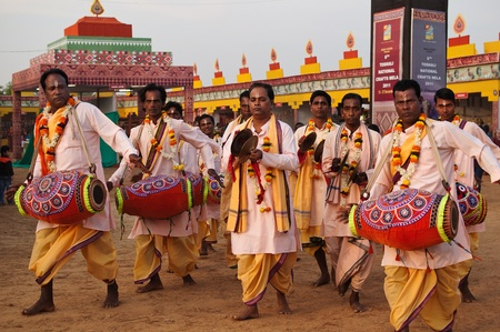 BHUBANESWAR, INDIA - DECEMBER 20: Traditional Folk singers perform at the Toshali National Crafts fair on December 20, 2011 in Bhubaneswar, Orissa, India. It is the largest crafts fair in India.
