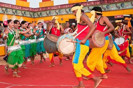 BHUBANESWAR, INDIA - DECEMBER 20: Tribal dancers perform at the Toshali National Crafts fair on December 20, 2011 in Bhubaneswar, Orissa, India. Toshali is the largest art and crafts fair in India.