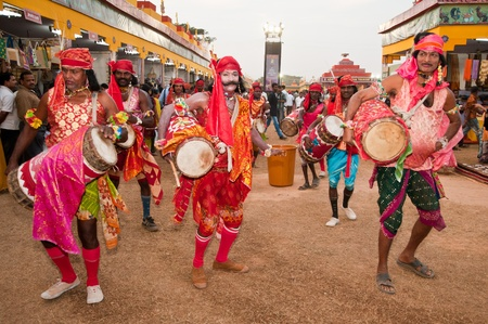 BHUBANESWAR, INDIA - DECEMBER 20: Cultural folk dancers perform at the Toshali Crafts fair on December 20, 2011 in Bhubaneswar, Orissa, India. Toshali is the largest art and crafts fair in India.
