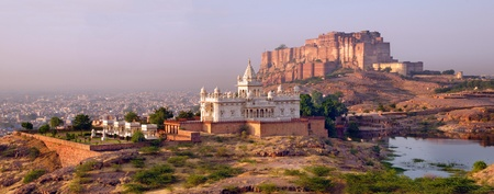 fortress: Beautiful panorama of Mehrangarh fort with Jaswant Thada white temple at Jodhpur, Rajasthan Stock Photo