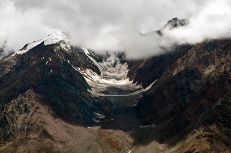 Bara Shigri Glacier in Kunzum Pass in Lahaul Spiti district in Himachal Pradesh  It is the longest glacier in Himachal Pradesh  This glacier is the main source for Chenab river  Stock Photo