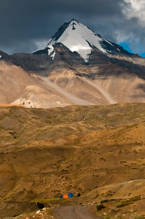 Camping at the base of Himalayan mountains in summer