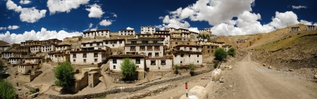 world village: Panoramic view of Kibber village in the Himalayas  It is the highest village in the world having electricity and motorable road  Stock Photo