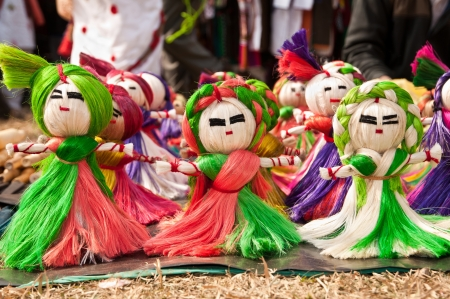 indian fair: Colorful handmade toy puppets made of jute on display for sale in Poush Mela fair in Shantiniketan, West Bengal, India