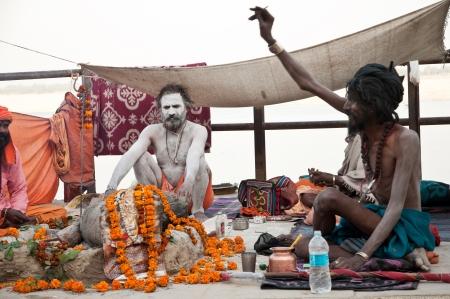 VARANASI, INDIA - MARCH 10: Shaiva sadhus perform yagna prayer rituals of Lord Shiva on the auspicious Maha Shivaratri festival on March 10, 2013 at Varanasi, Uttar Pradesh, India. Stock Photo - 18646851