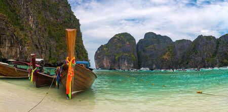 Panorama of the most beauitul beach, Maya Bay, in Phi Phi islands, Thailand.