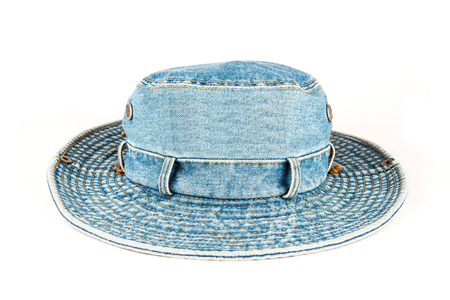 rimmed: Denim large rimmed hat over plain white background