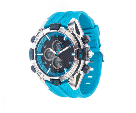 Stylish analog cum digital performance sports watch of unique blue color over white background