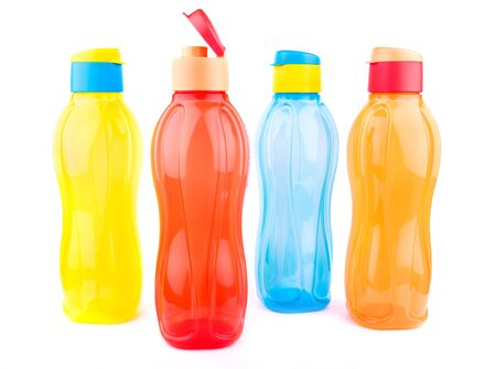 Beautiful colorful pet water bottles over white background