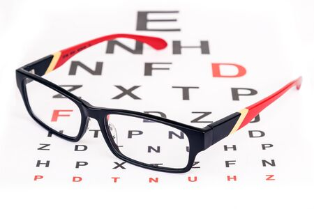 specs: Stylish red framed specs over English eye test chart Stock Photo