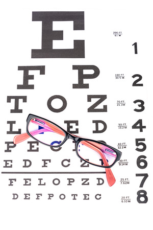 Stylish Pair Of Glasses Folded And Kept Over Snellen Eye Testing