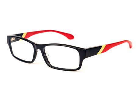 specs: Fashionable pair of spectacles isolated over white background. Stock Photo