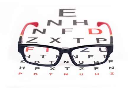 Stylish Pair Of Glasses Over Ophthalmology Snellen Chart Used
