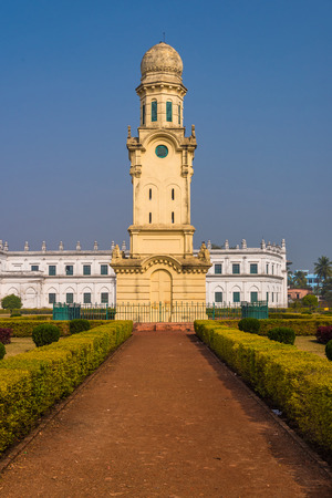 haveli: The famous clock tower in front of Imambara in Murshidabad, West Bengal, India.