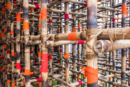 Intial structure made from bamboo used before buiilding construction Stock Photo