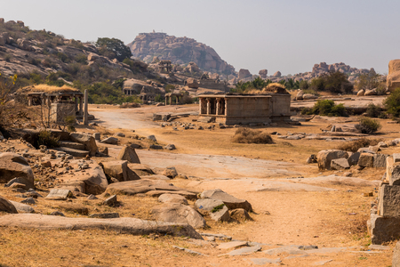 City of Hampi with the various ruins from the Hindu Vijayanagara empire which existed in the 14th century. Stock Photo