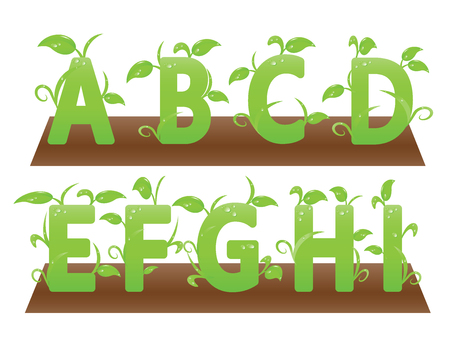 managed: Environment friendly English alphabets from A to I. Well managed vector eps10 file is included.