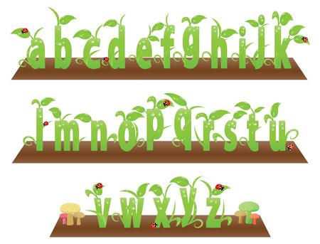 Environment friendly small English alphabets from a to z. With beetles and mushrooms.
