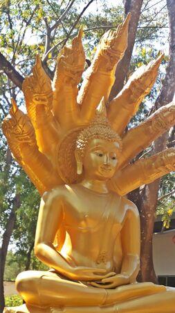 top 7: 7 Cabeza Naga de Buda de Oro Foto de archivo