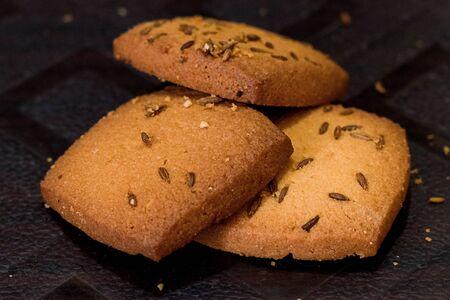 Cumin Seed Cookies closeup Stock fotó