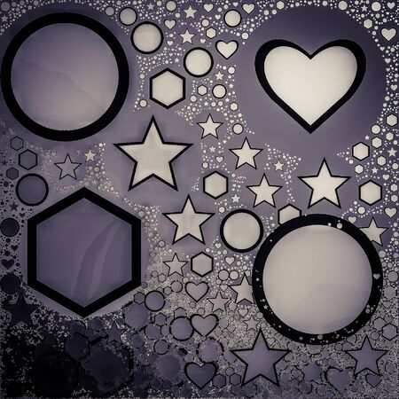 Multiple Shapes with silver texture background 스톡 콘텐츠