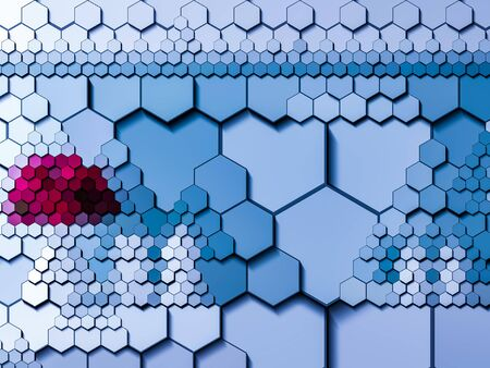 Hexagon tiles red spot and light blue. ready to use template for website or header or background.