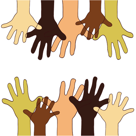 europian: A Vector illustration on colorless background with hands up of different races, colors, nationalities.Children.Asian, arab, african, american, europian hands and palms. Illustration