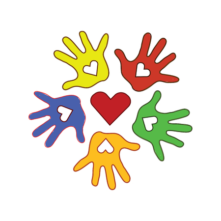 Colorless background with circle of colorfull palms of the hands with symbol of the heart