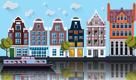 アムステルダムのパノラマ。ボートの運河沿いを家します。  イラスト・ベクター素材