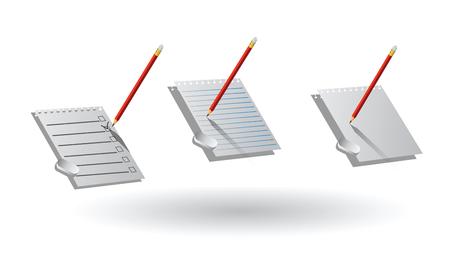 Realistic sheets of paper, pencil, eraser Illustration