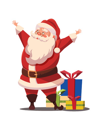 belt up: Christmas Santa Claus  with arms wide open and gifts Illustration