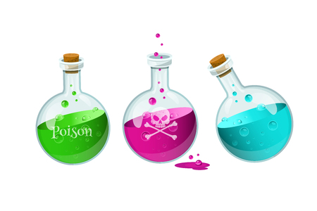Vector illustration with set of poison bottles.Game icon of a poison bottle