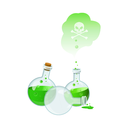 Vector illustration with set of poison bottles.Game icon of a poison bottle.Empty bottle.Toxic vapor