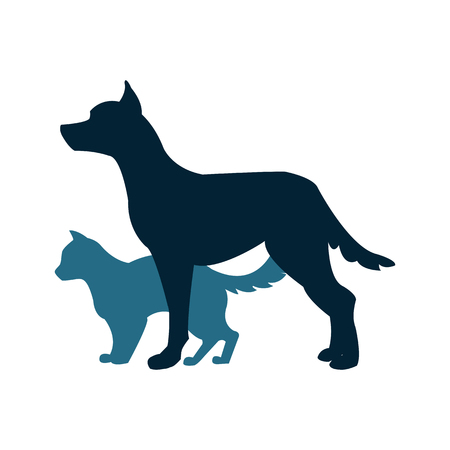 Vector illustration with a cat and dog silhouette on the colorless background