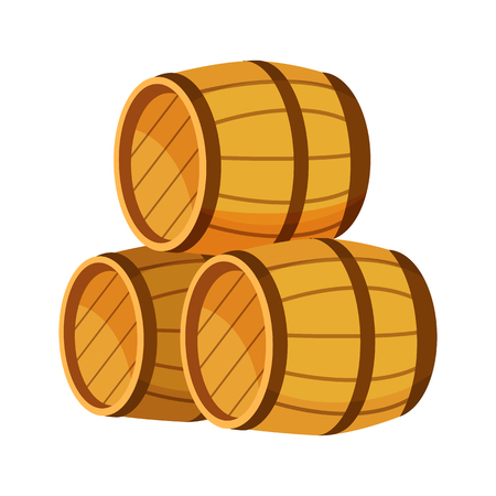 Wooden barrels vector illustration on colorless background