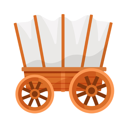 Vector illustration on a colorless background with a wooden wagon. Stock Illustratie