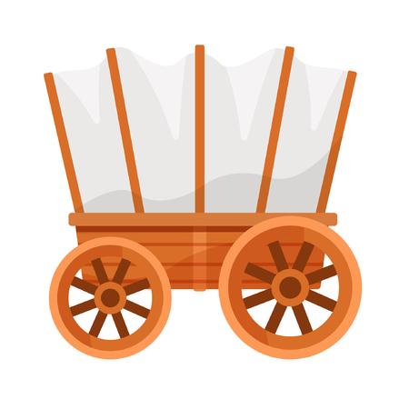 Vectorillustratie op een kleurloze achtergrond met een houten wagen. Vector Illustratie