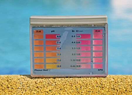 ph: Clean water in the pool. Ph and chlorine analyzer Stock Photo