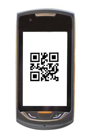 handy: mobile phone with a qr code (barcode old) Stock Photo