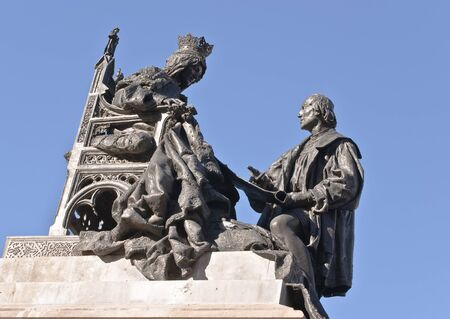 queen isabella: Sculpture of Christopher Columbus and Queen Isabella