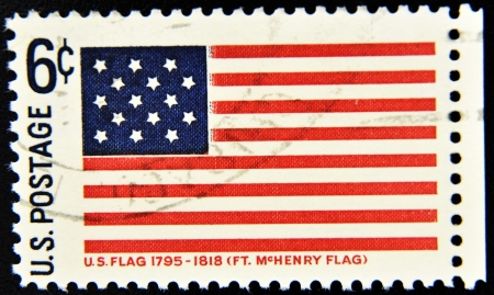 canceled: UNITED STATES OF AMERICA - CIRCA 1990: A stamp printed in USA shows Fort McHenry Flag,circa 1990  Stock Photo