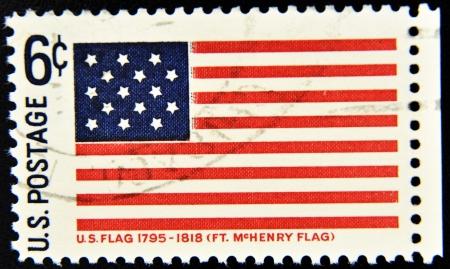 philatelist: UNITED STATES OF AMERICA - CIRCA 1990: Eine Briefmarke gedruckt in den USA zeigt, Fort McHenry Flag, circa 1990