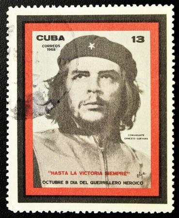 CUBA - CIRCA 1968: A stamp printed in Cuba showing the Che Guevara, Day of the Heroic Guerrilla, circa 1968