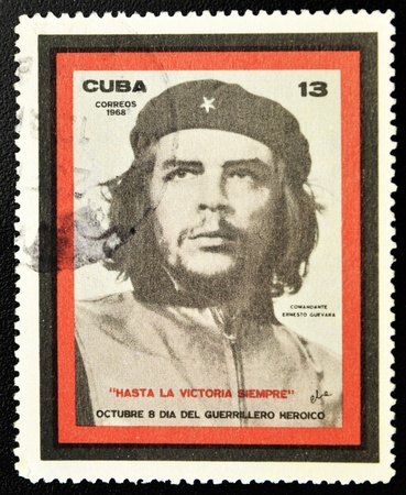 CUBA - CIRCA 1968: A stamp printed in Cuba showing the Che Guevara, Day of the Heroic Guerrilla, circa 1968
