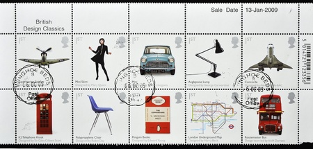 GREAT BRITAIN - CIRCA 2009: A stamp printed in Britain shows different british design classics, serie, circa 2009  photo