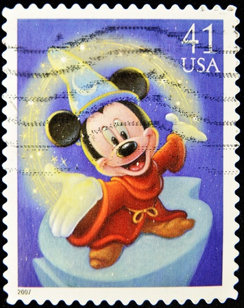 disney cartoon: stamp with Mickey mouse in disney movie fantasy
