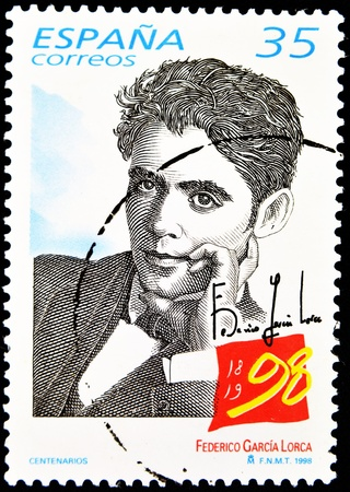 SPAIN - CIRCA 1998: A stamp printed in Spain showing the universal poet Federico García Lorca, circa 1998